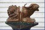 Lion and Buffalo Bookends